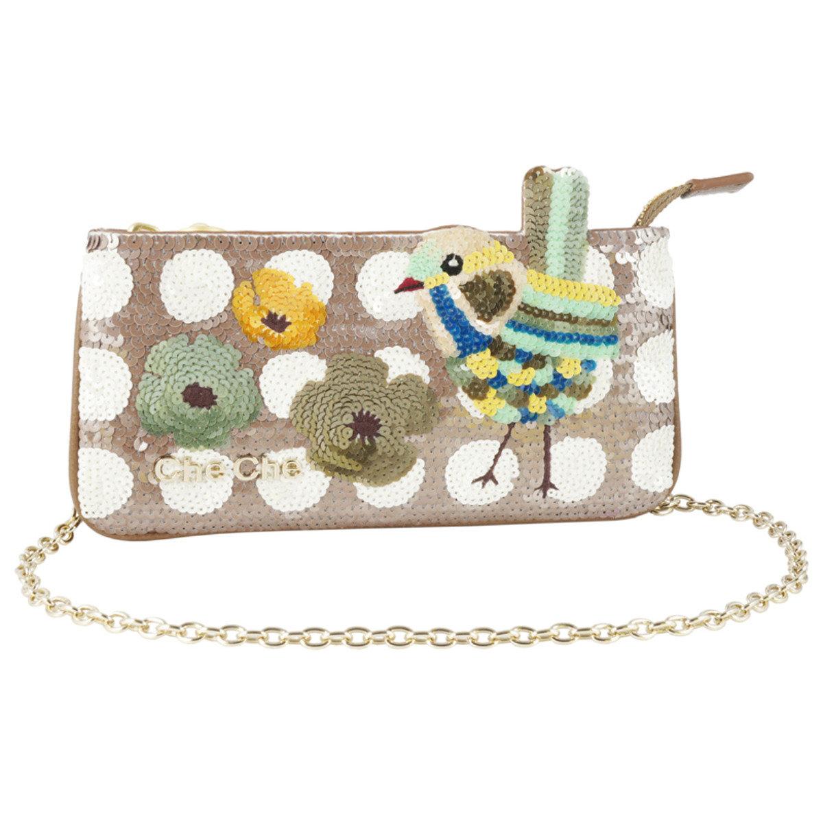 燕雀手工釘珠片斜揹錢包袋