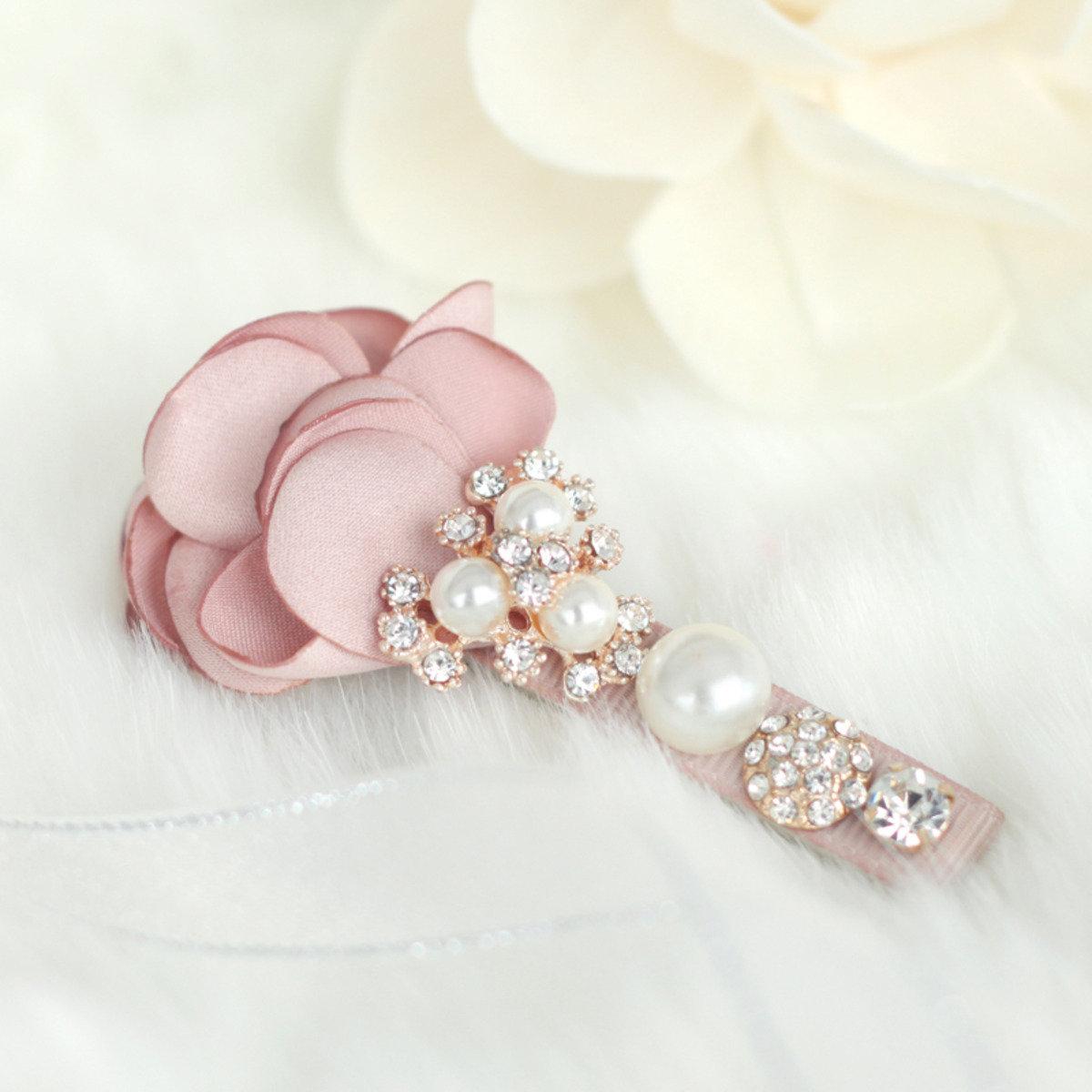 華麗珍珠絲花髮夾