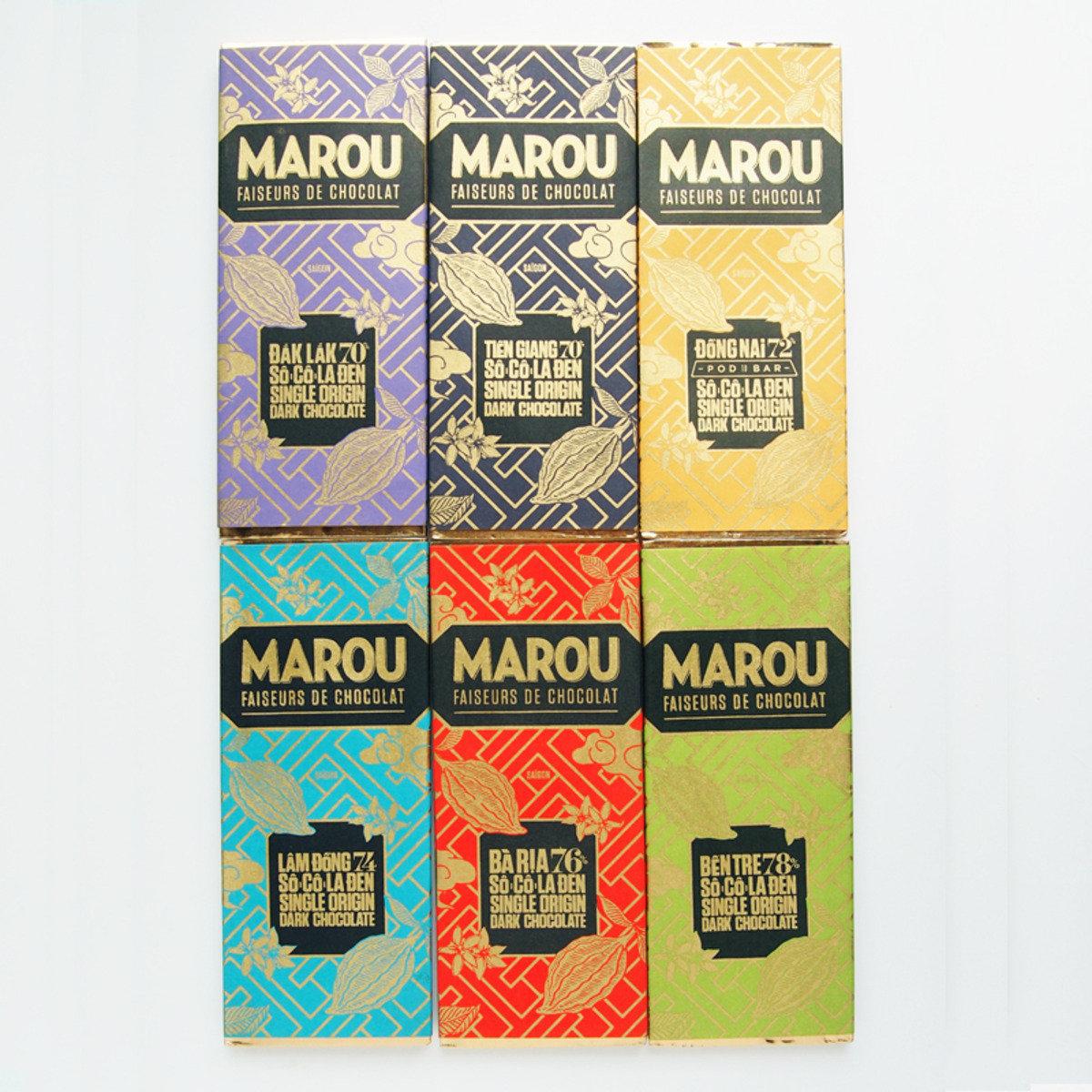 MAROU朱古力-6排 (24g): 前江 70%, 同奈 72%, 林同 74% , 巴地 76%, 儐椥 78%, 多樂 70%
