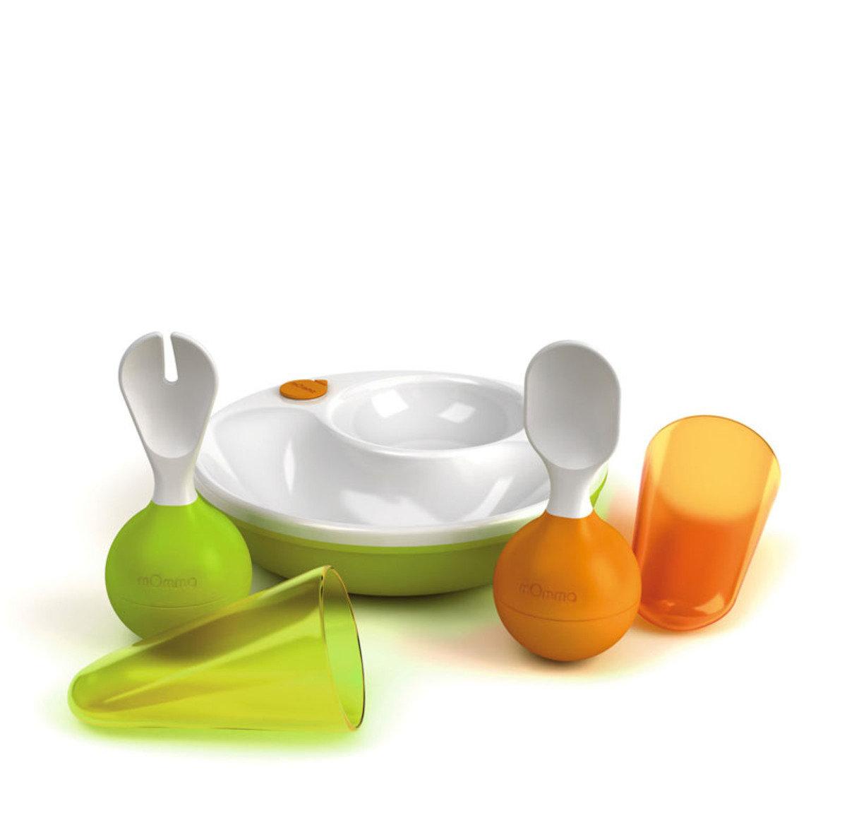 注水餵食兩格保溫碟連Rocking幼兒匙叉套裝 - 綠色