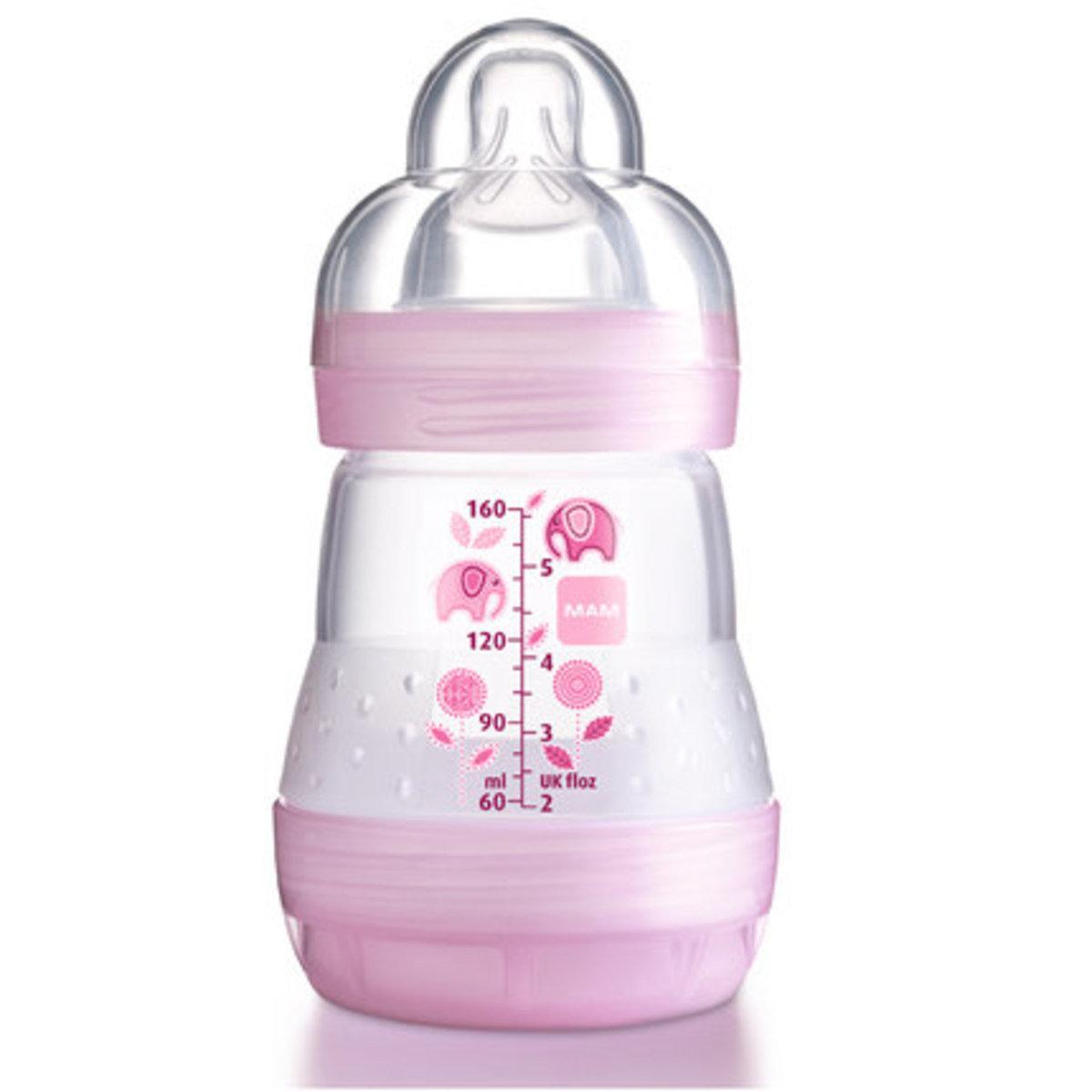 防脹氣奶瓶160ml-粉紅