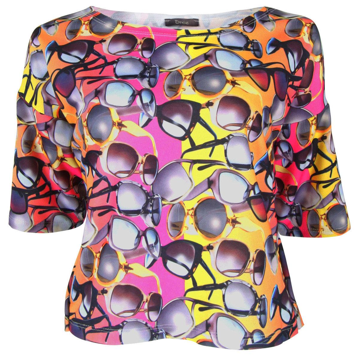 彩色太陽眼鏡圖案上衣