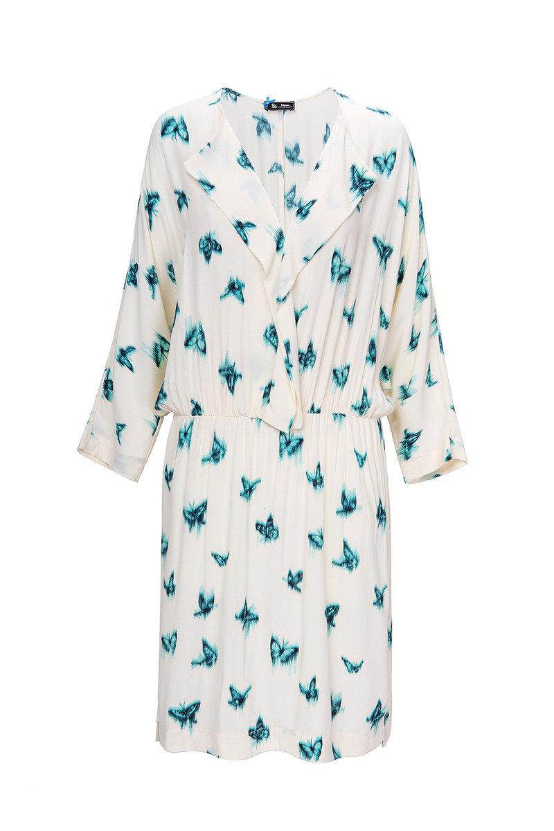 蝴蝶印花連衣裙
