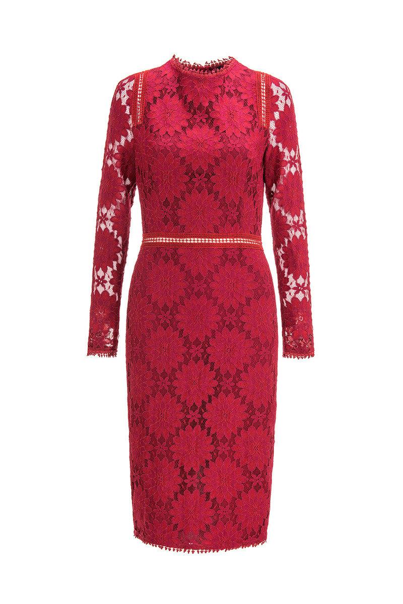 蕾絲花紋連衣裙