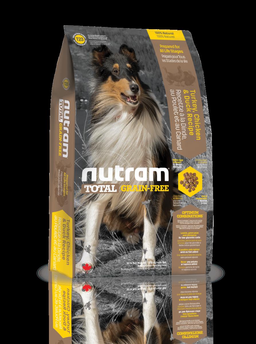 Nutram 無薯無穀糧中型犬 (雞+火雞+鴨) 13.6kg