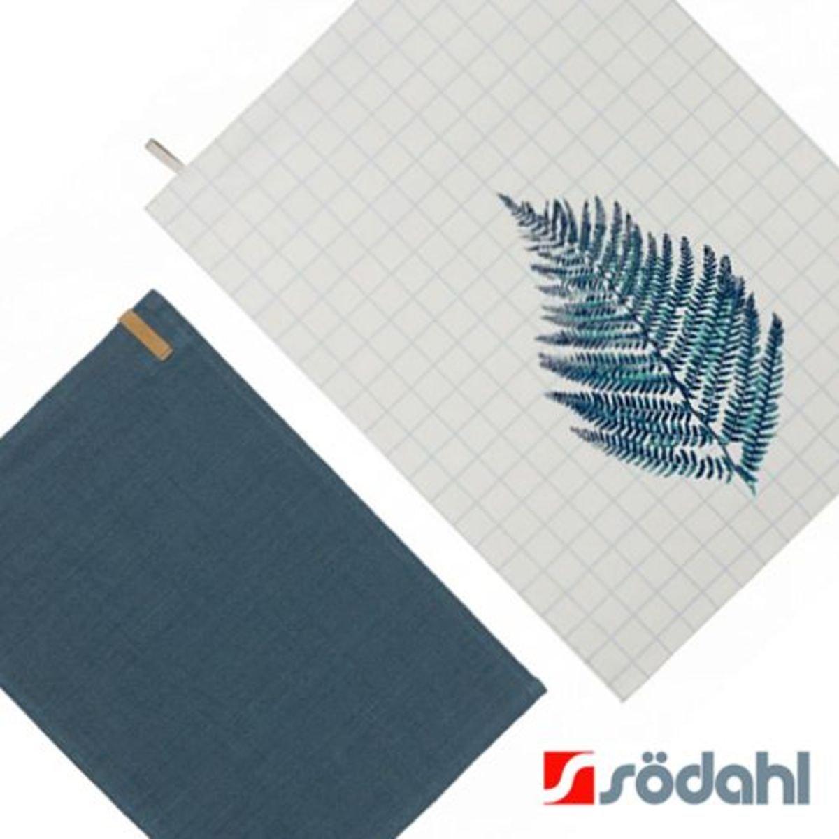 """餐桌套裝""""Casual""""簡約餐墊+夏蕨系列餐巾, 藍"""