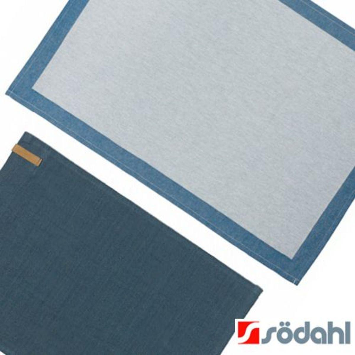 """4人餐桌套裝""""Casual""""簡約餐墊+Frame系列餐巾, 藍色"""