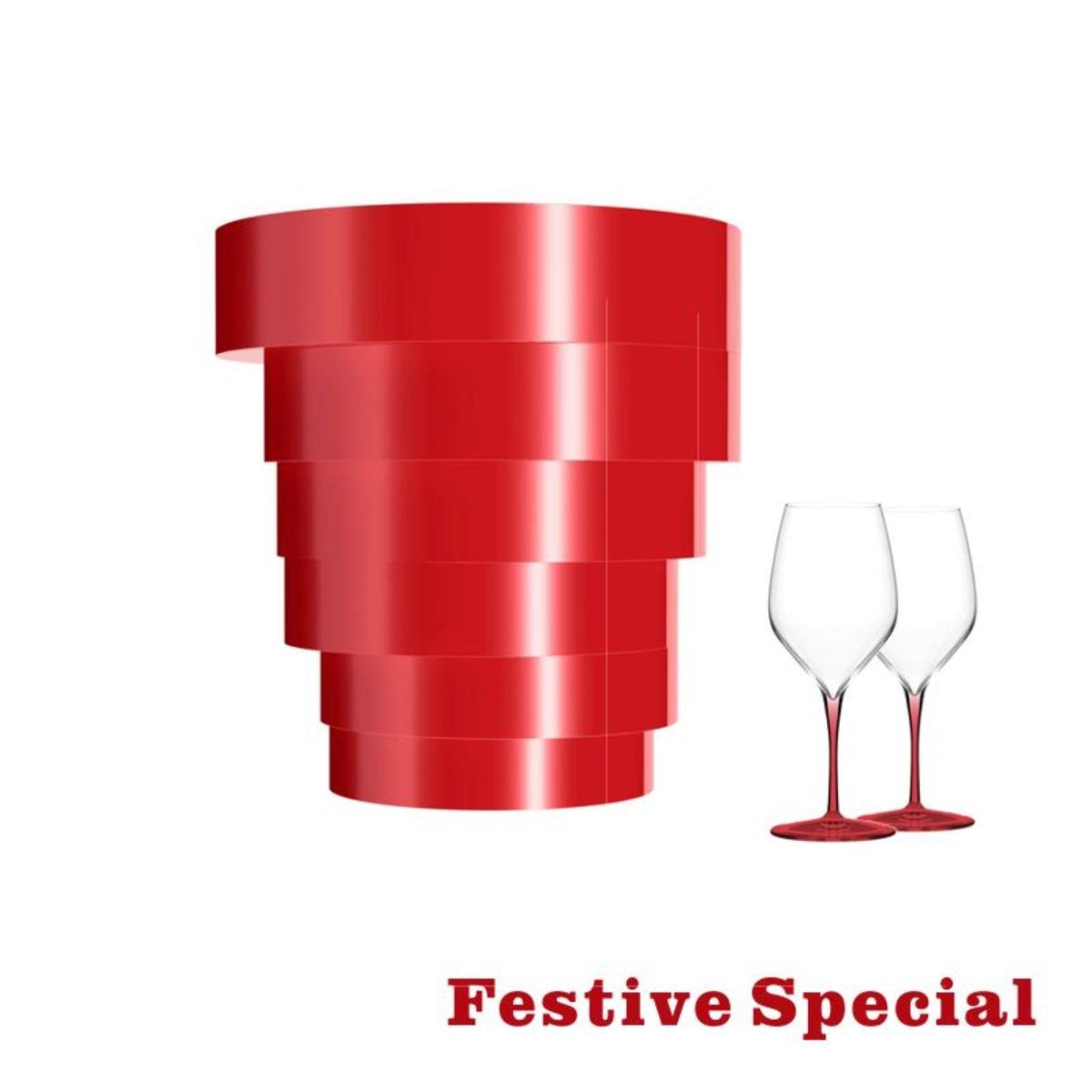 >   Soloman 冰桶,配炫彩系列酒杯(2隻)套裝,紅色