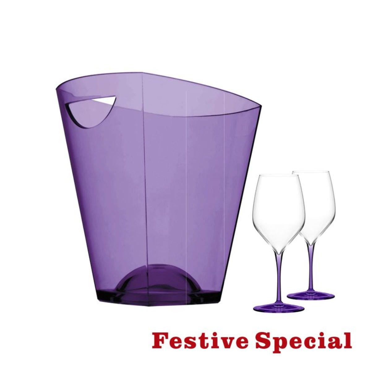>  Pagoda 冰桶配炫彩系列酒杯(2隻)套裝, 紫色