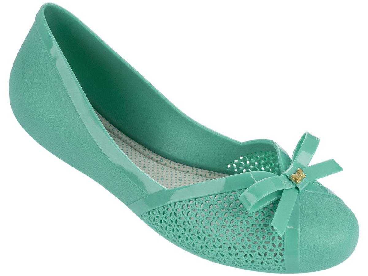 蝴蝶結通花圓頭平底鞋 - 綠色