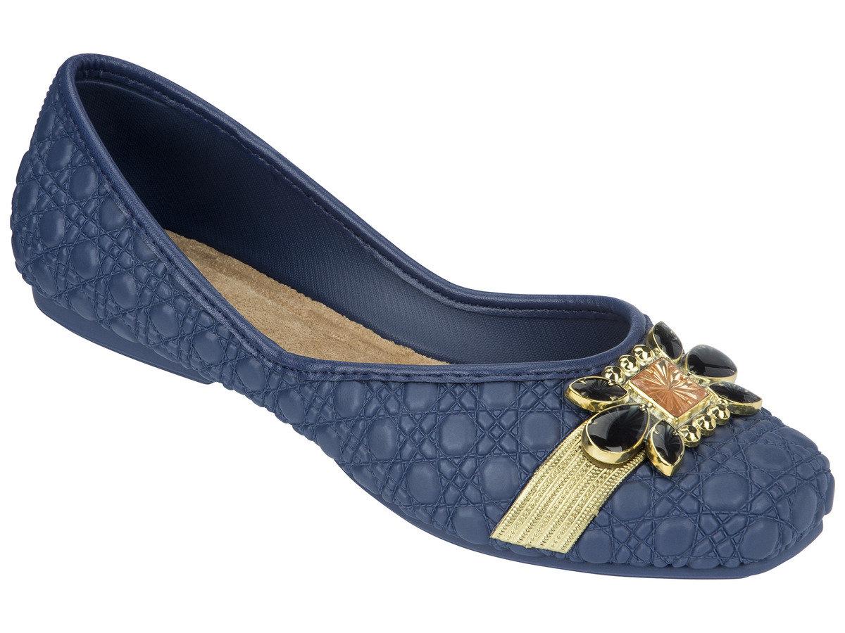 壓紋仿皮晶瑩扣鉓平底鞋 - 藍色