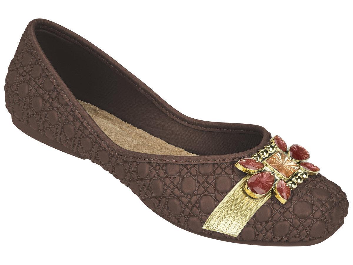 壓紋仿皮晶瑩扣鉓平底鞋 - 啡色