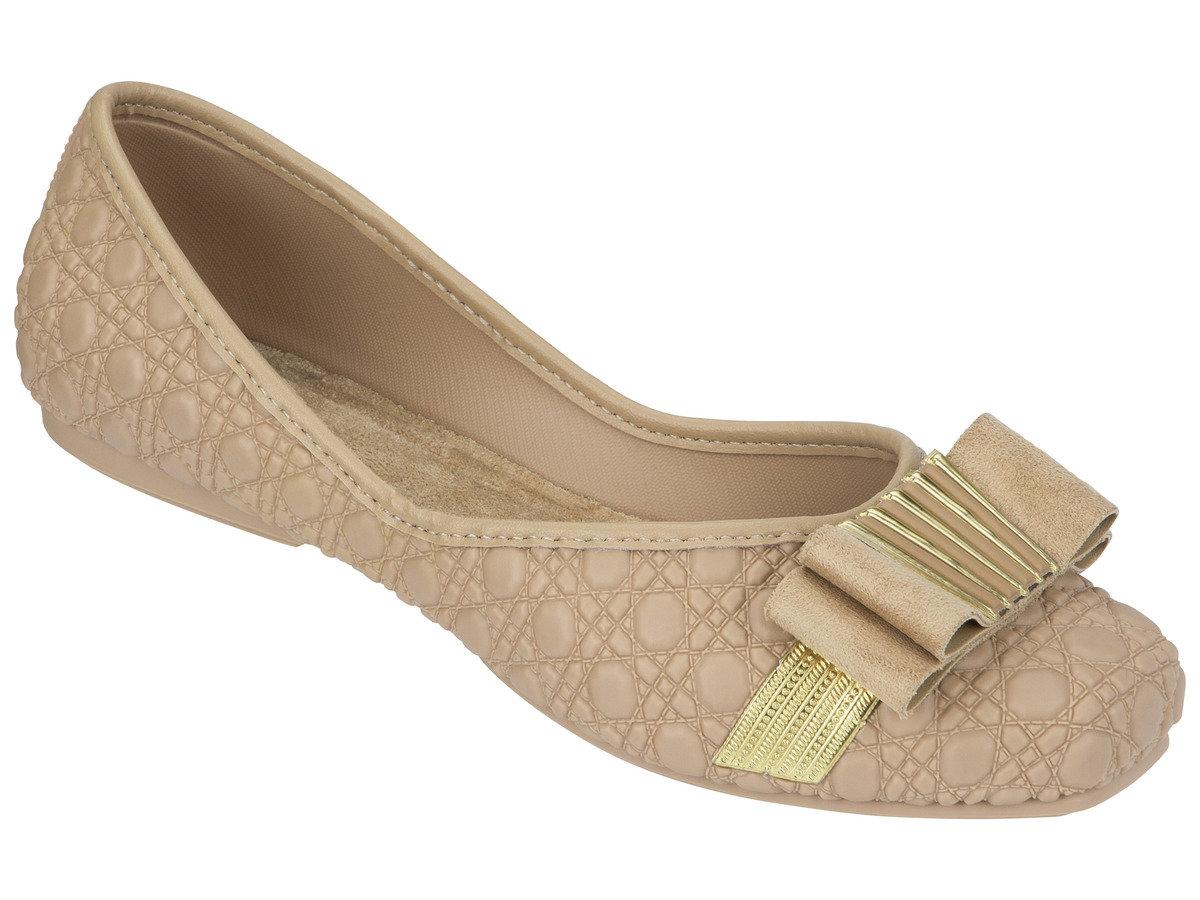 壓紋仿皮煲呔結平底鞋 - 米色