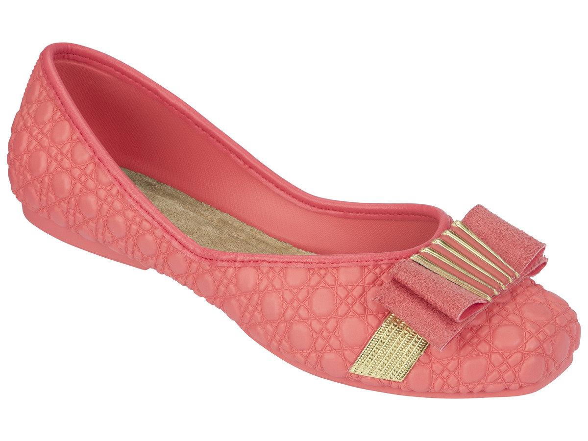 壓紋仿皮煲呔結平底鞋 - 粉紅色