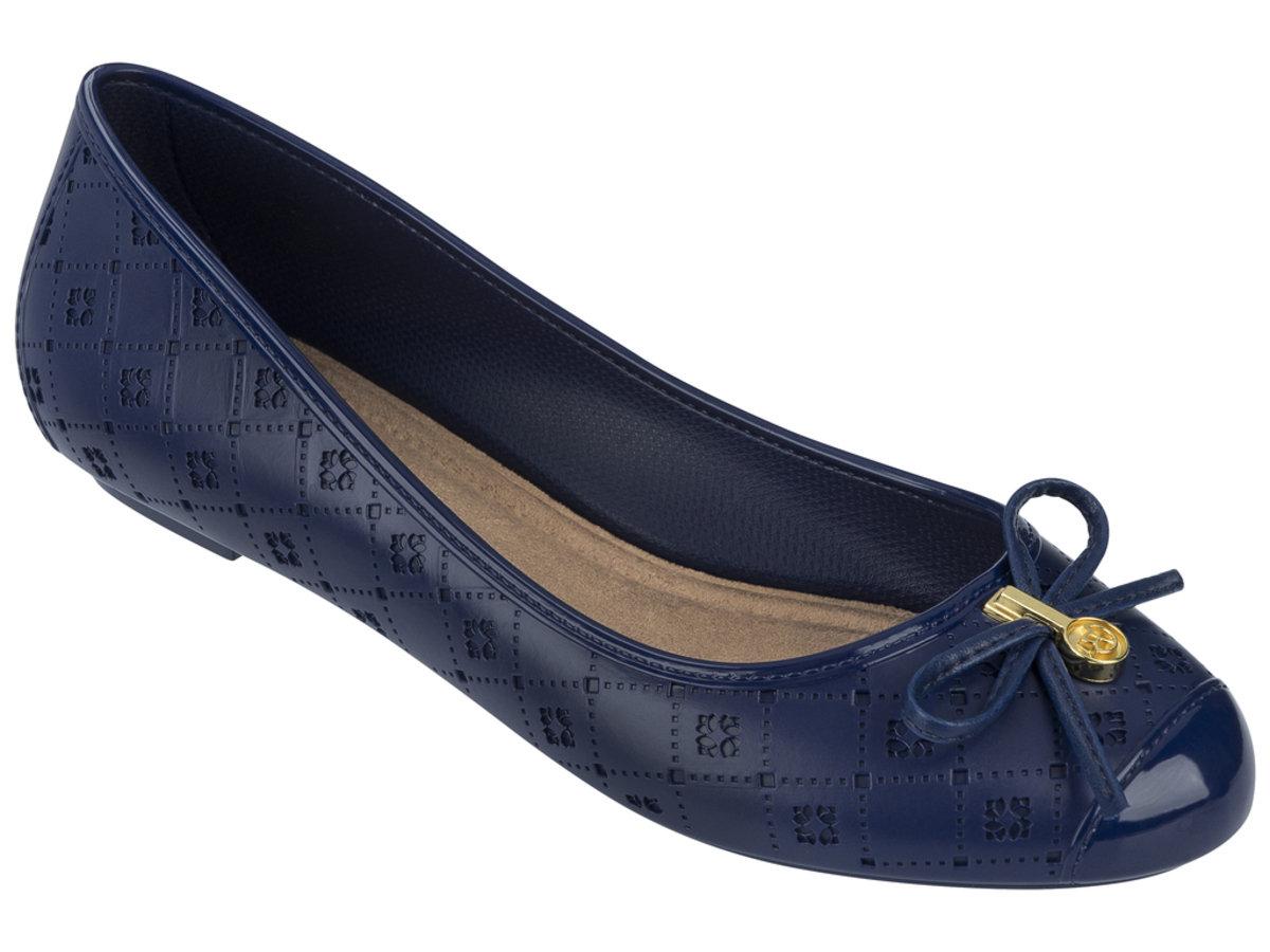 壓紋仿皮圖案平底鞋 - 深藍色