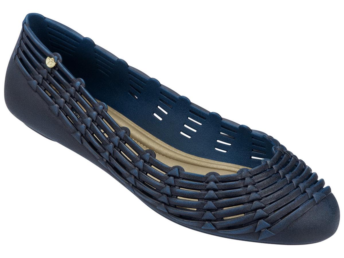純色仿織蕂設計平底鞋 - 深藍色