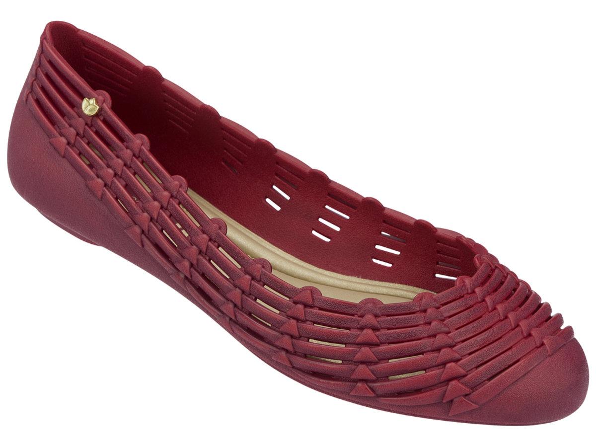 純色仿織蕂設計平底鞋 - 深紅色