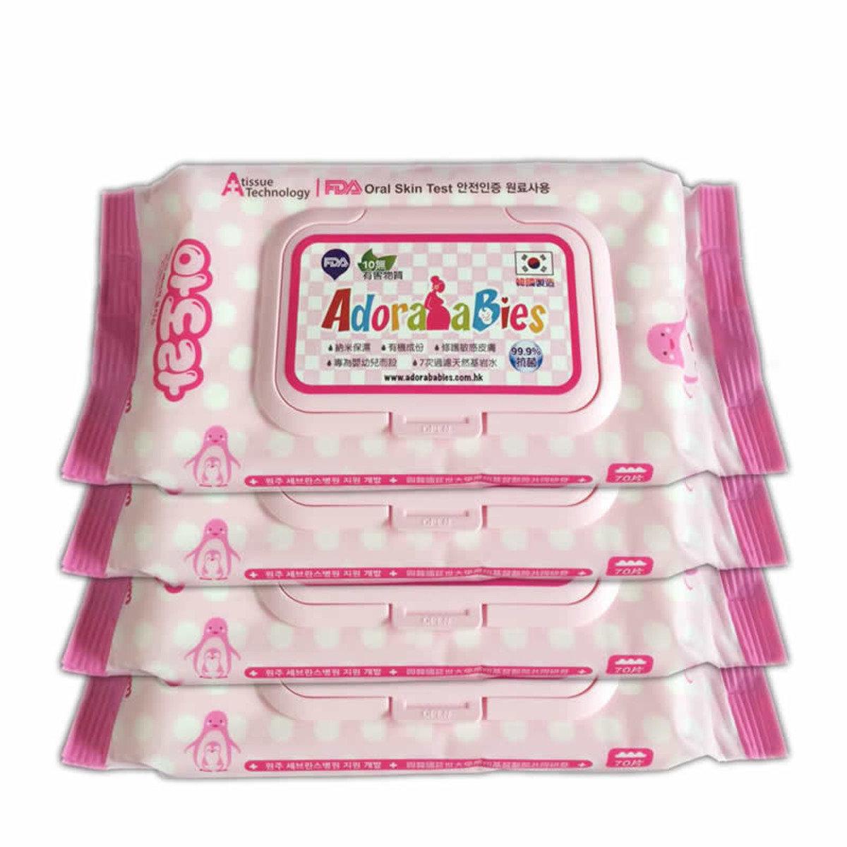 納米抗菌高級壓花嬰兒保濕修護濕紙巾家用裝 (70片 x 4包)