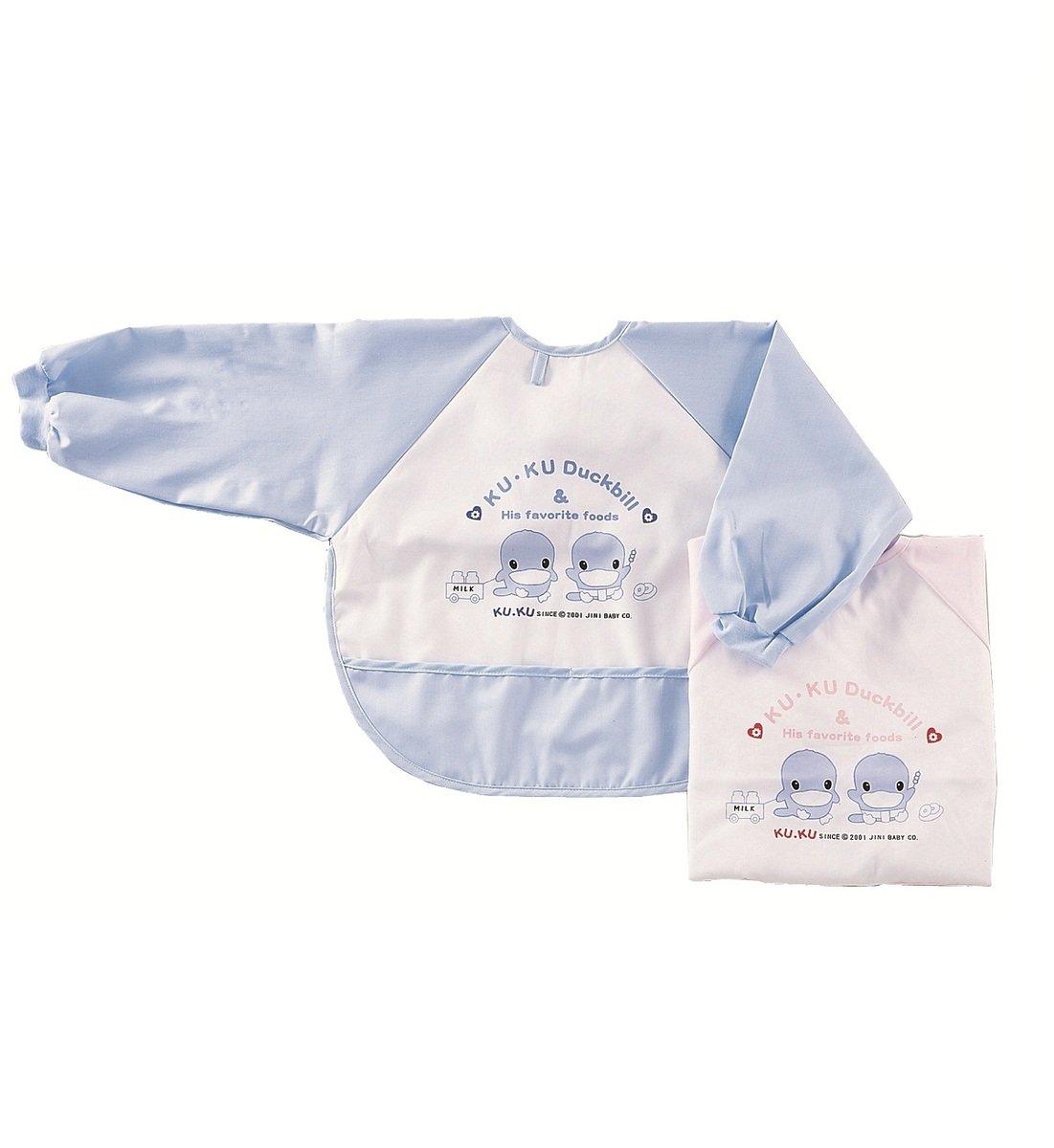酷咕鴨粘扣式長袖圍兜 (藍色) - 加大碼
