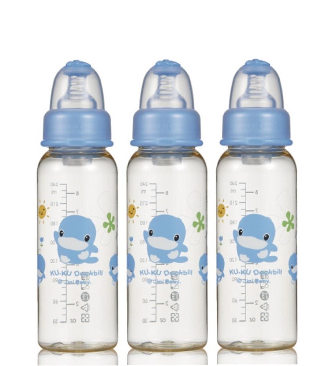 酷咕鴨晶鑽PP標準奶瓶 (藍色) - 240ml X 3