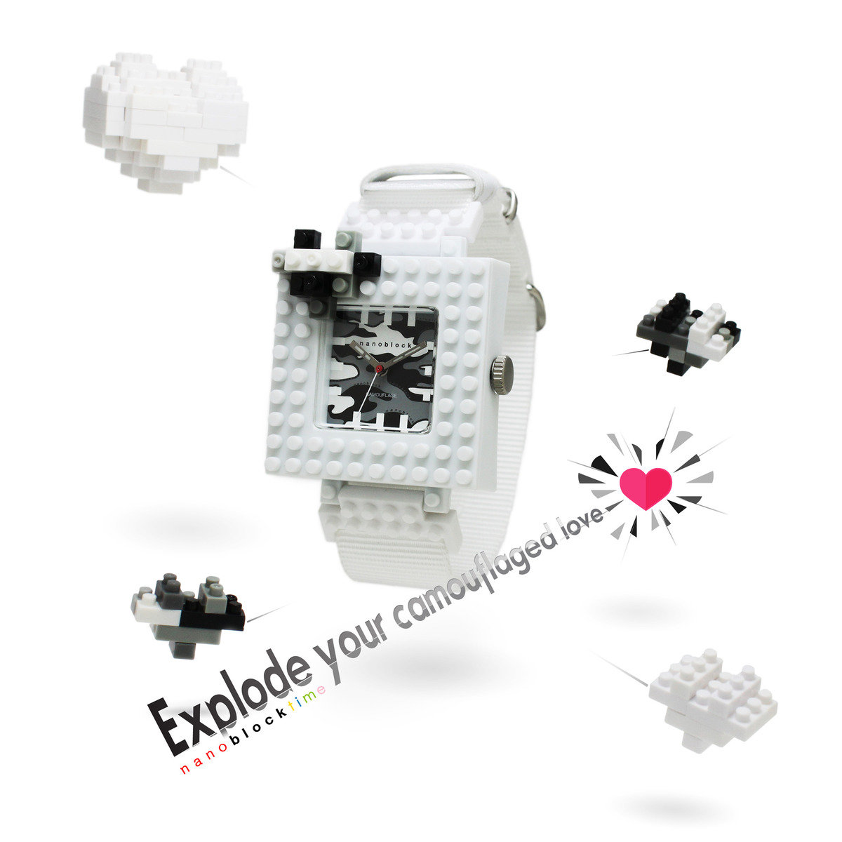 nanoblock DIY *白色情人節特別版* 迷彩手錶盒裝