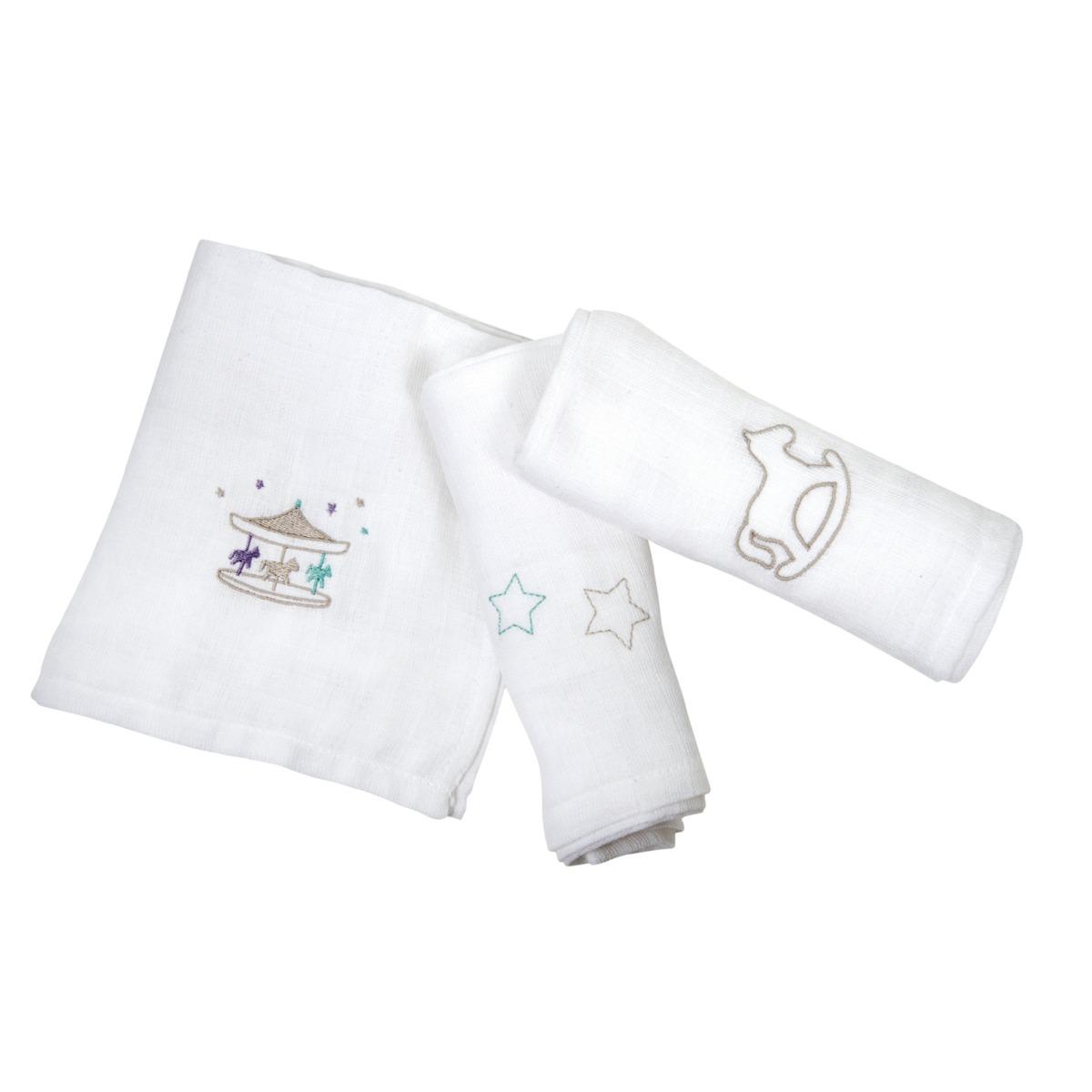 嬰兒刺繡薄巾套裝(3件)