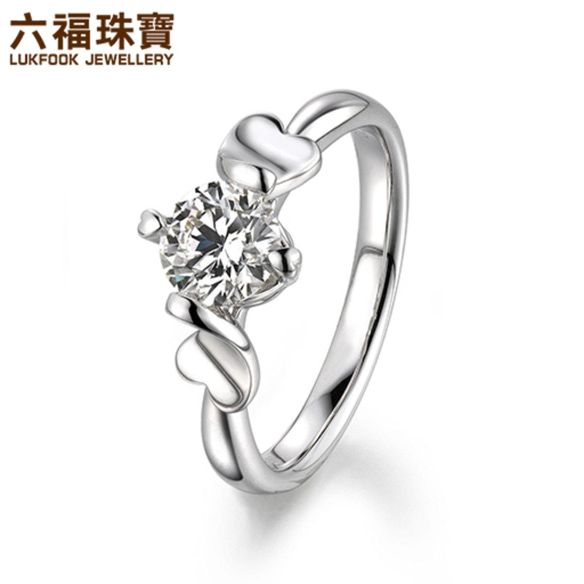 愛很美  女裝 18K/750金(白色)鑲單鑽石戒指