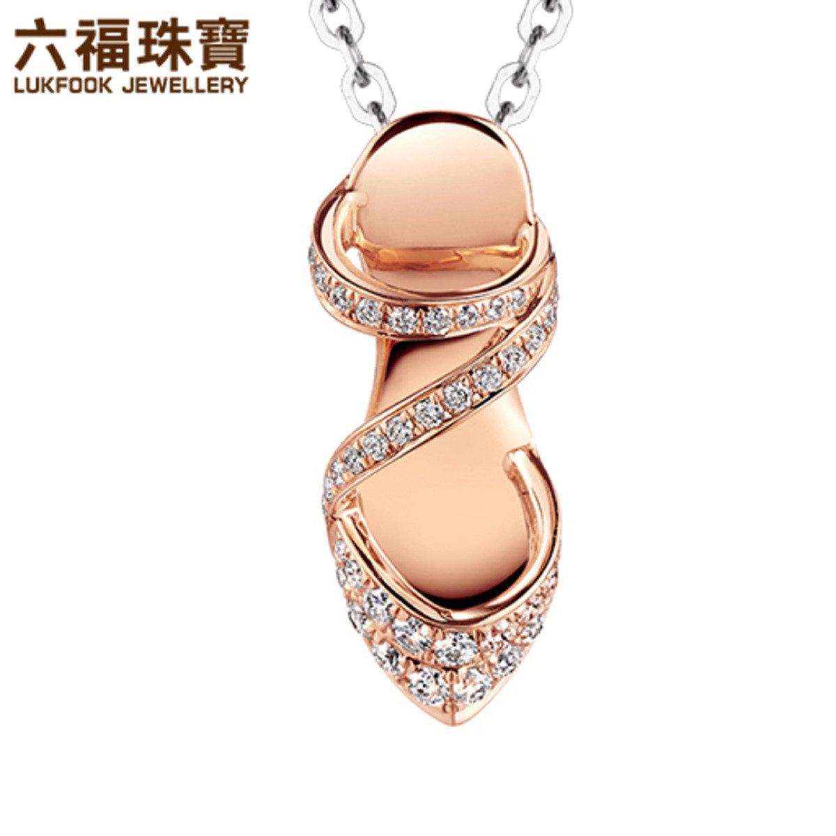 18K/750金(紅色)鑲鑽石吊墜