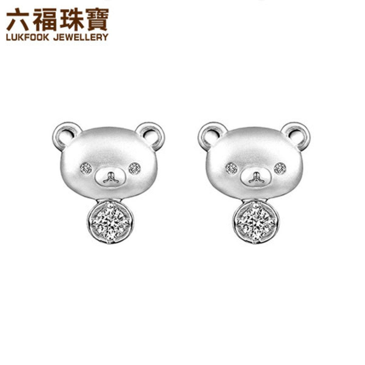 輕鬆小熊™ 18K白色黃金鑽石耳環