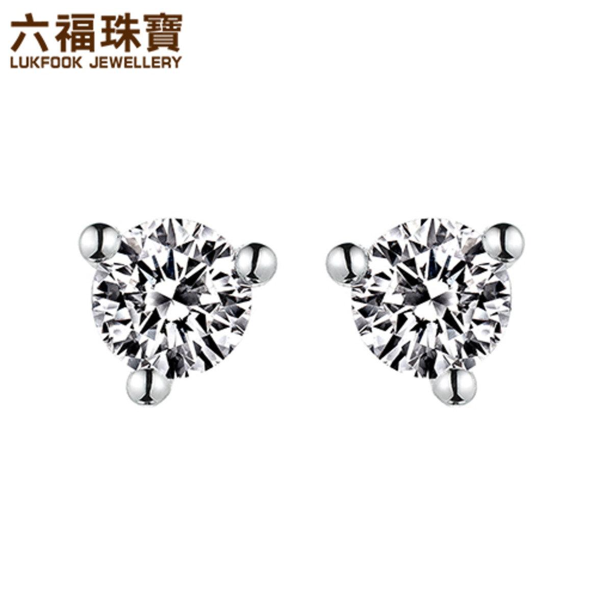 18K/750金(白色)鑲單鑽石耳環