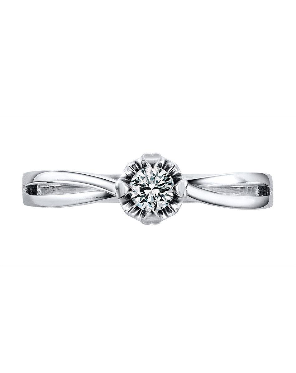 愛很美 18K/750金(白色)鑲單鑽石戒指