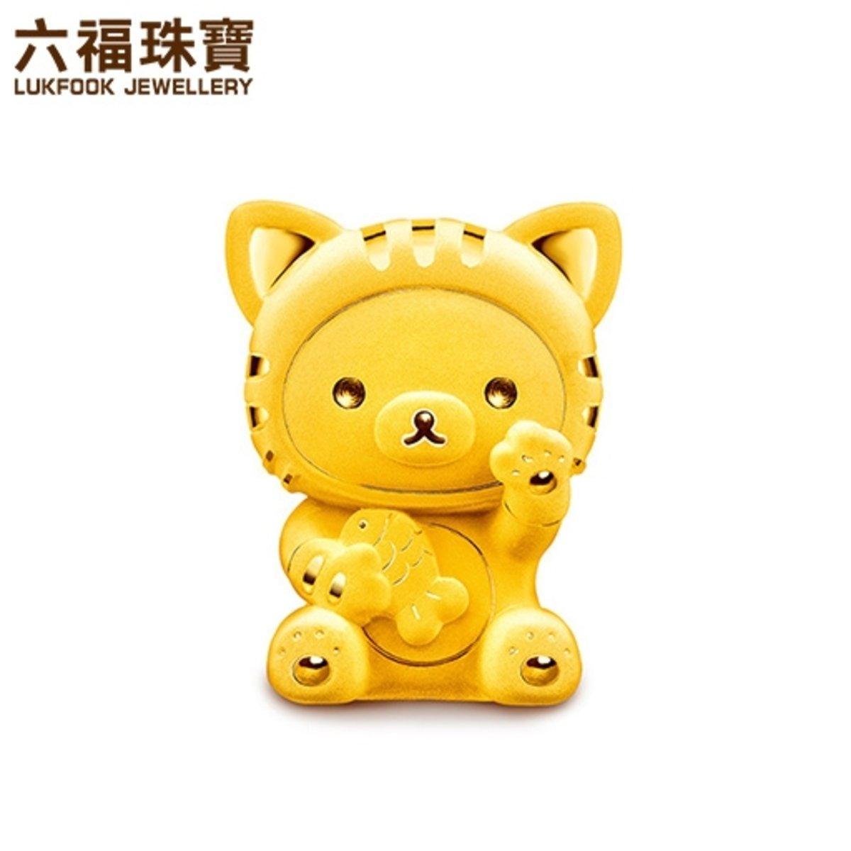 輕鬆小熊 女裝 招財造型黃金電鑄擺件