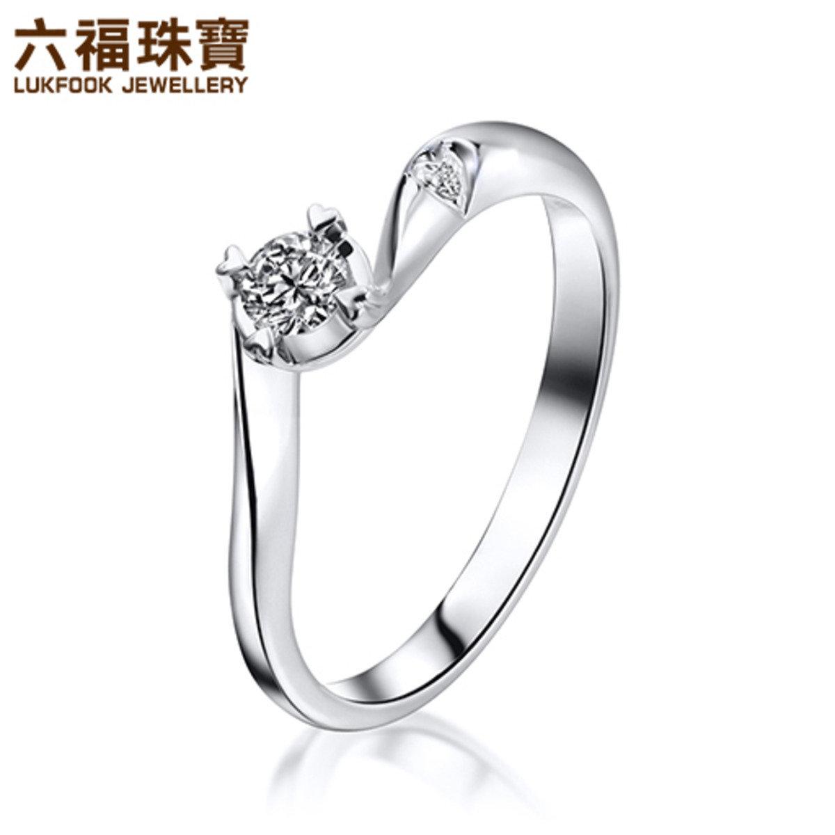 愛很美 18K/750金(白色)鑲單鑽石襯鑽石戒指