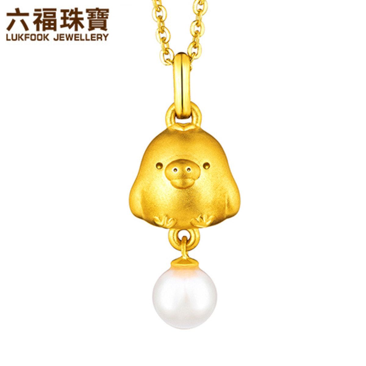輕鬆小熊 女裝 黃金襯珍珠吊墜