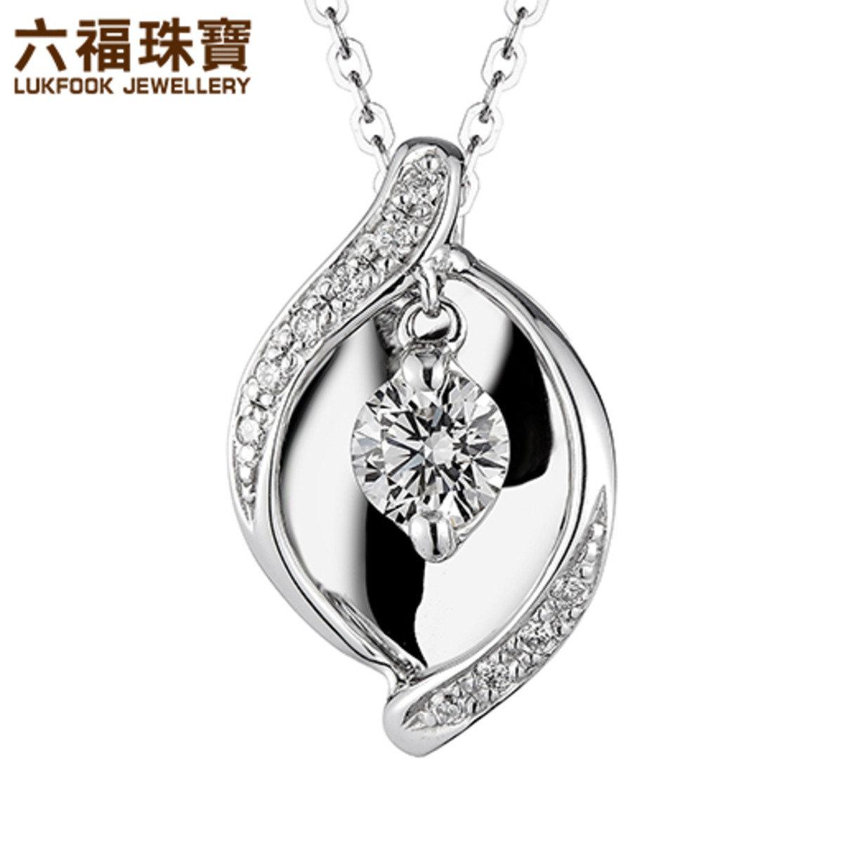 18K/750金(白色)鑲單鑽石襯鑽石吊墜