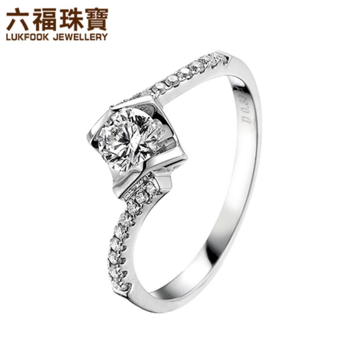 18K/750金(白色)鑲單鑽石襯鑽石戒指