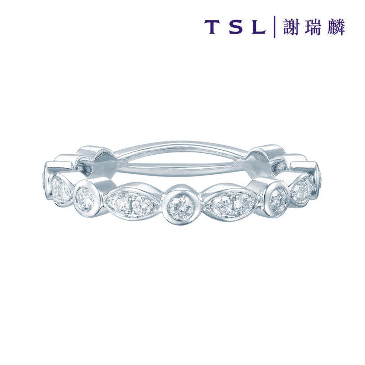 [指語 - 經典系列] 750/18K白色黃金鑲天然鑽石戒指