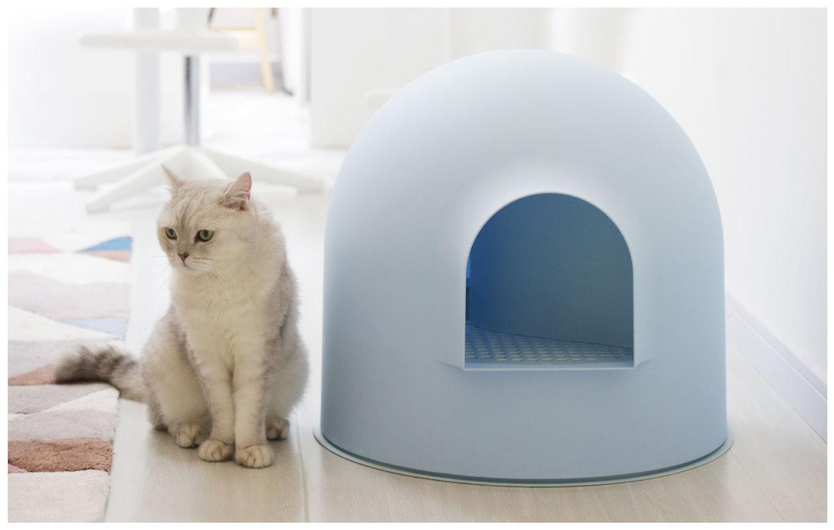 Snow House Igloo Cat Litter Box (Blue)