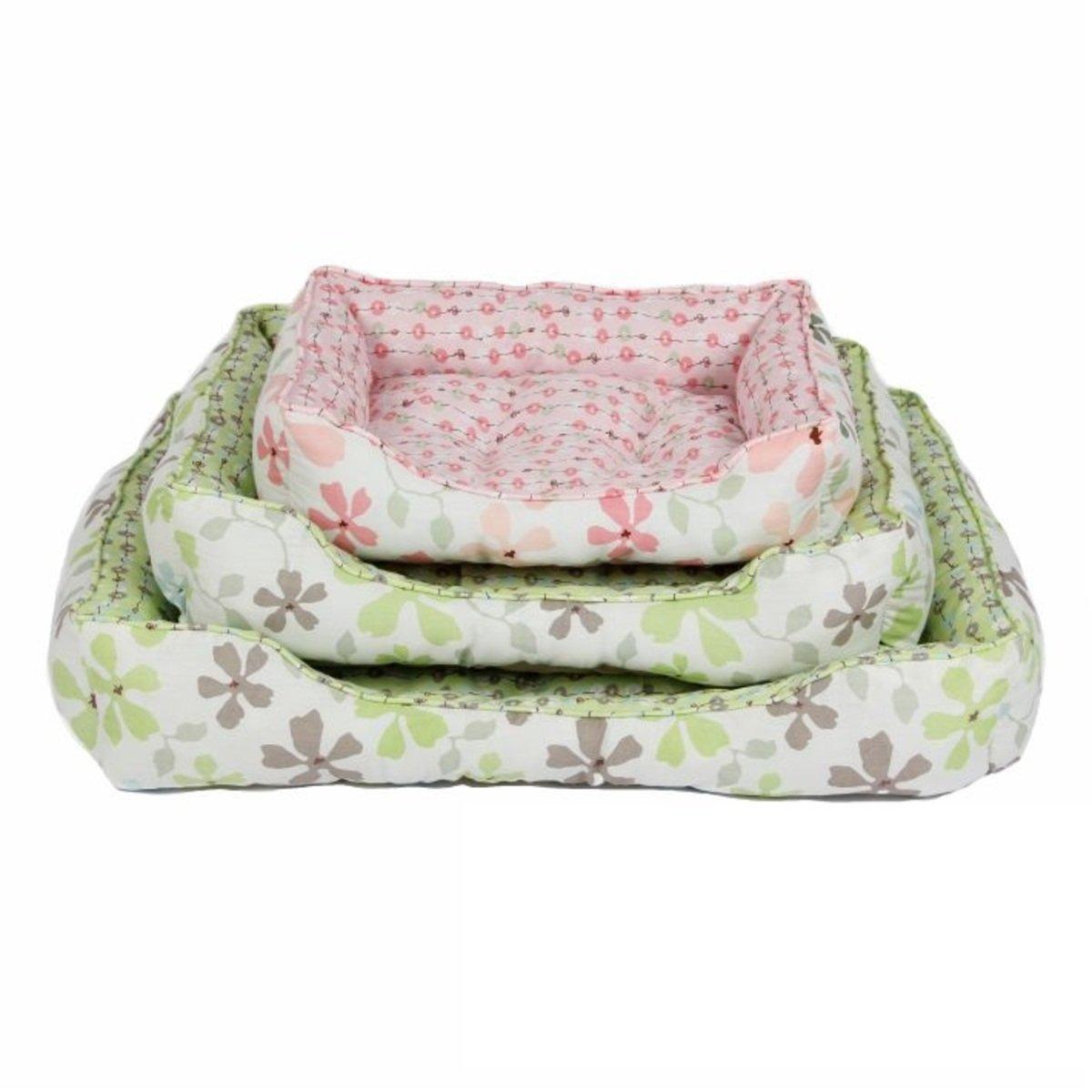清新花花方形寵物窩-粉紅61cm
