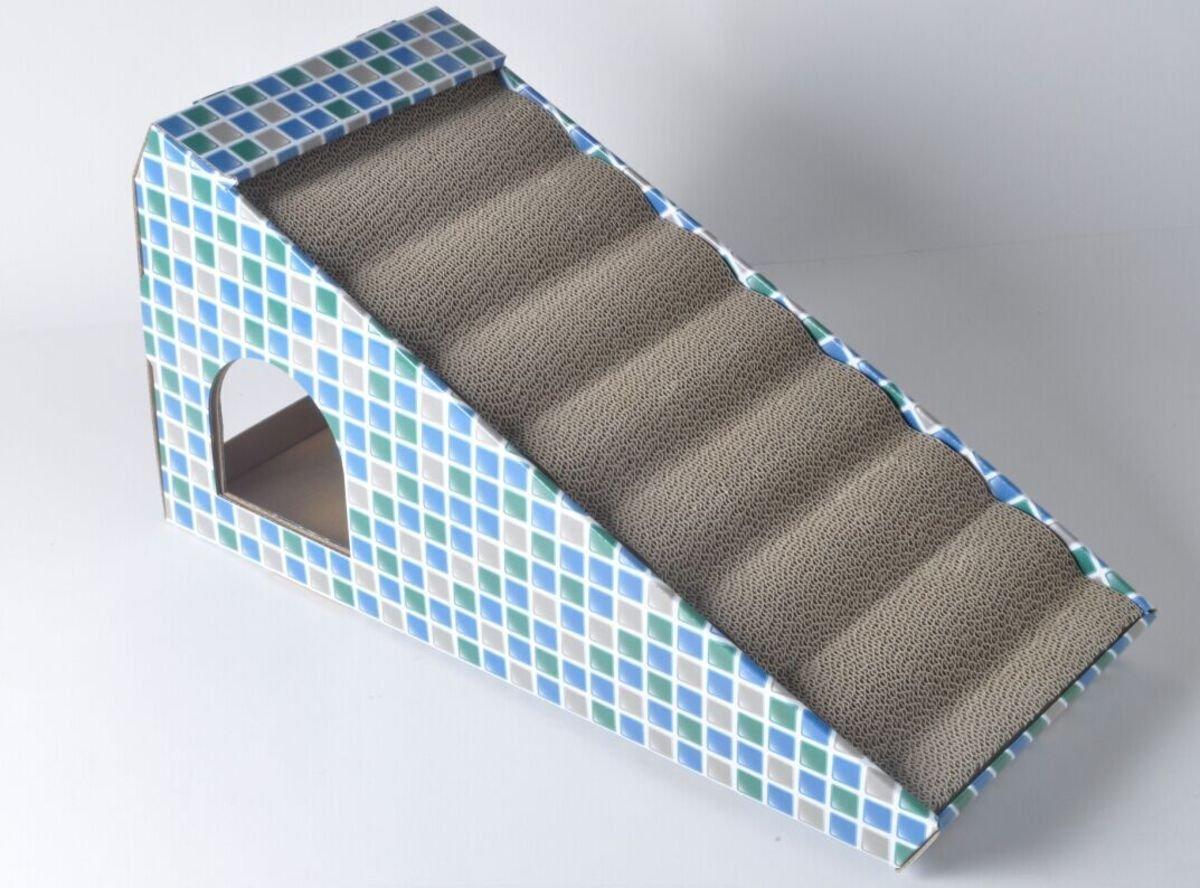 藍色方塊三角貓爪板50x22x25cm