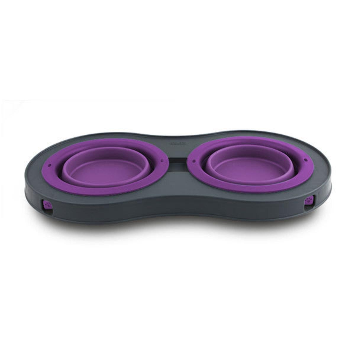 便攜折疊高架雙碗-紫色