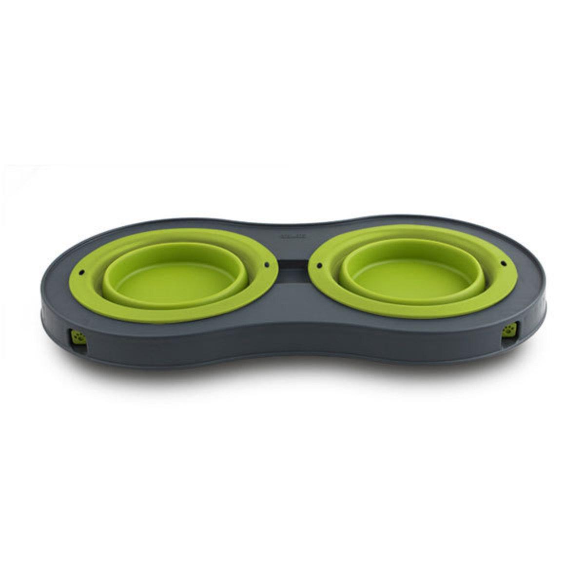 便攜折疊高架雙碗-綠色