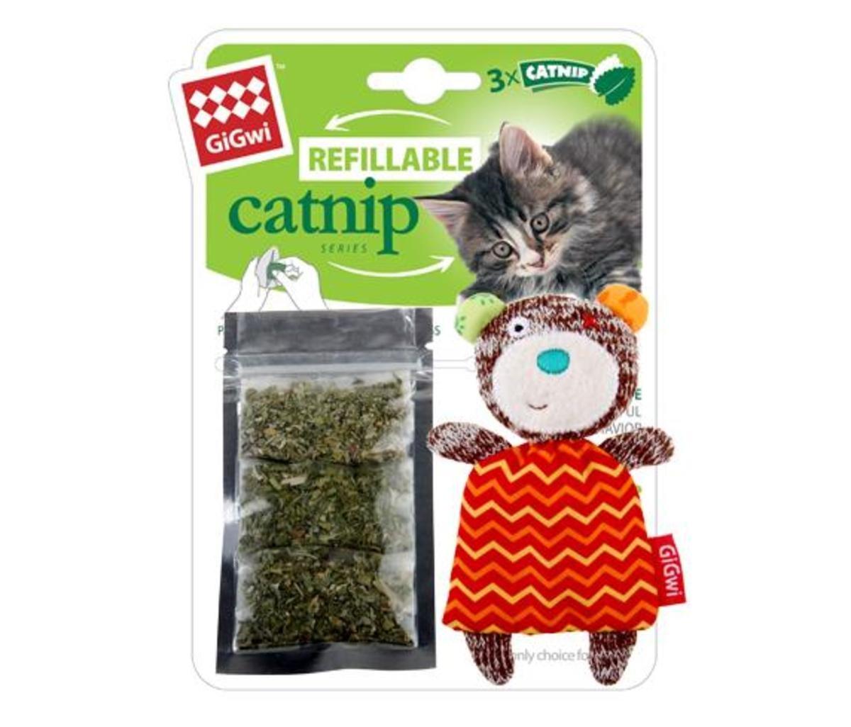 熊熊針織公仔貓玩具連貓草