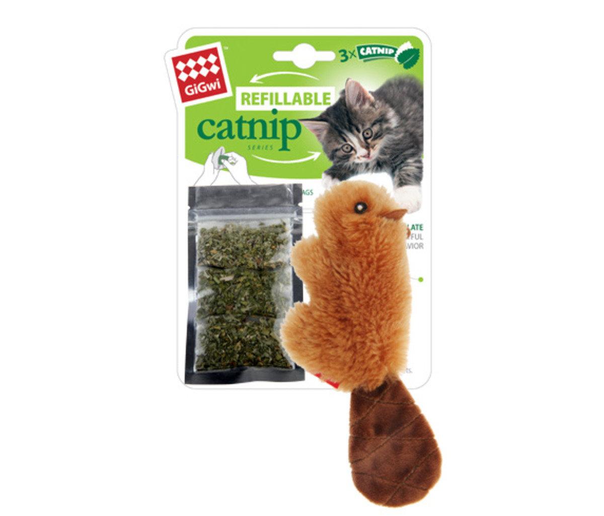 水獺毛毛公仔貓玩具連貓草