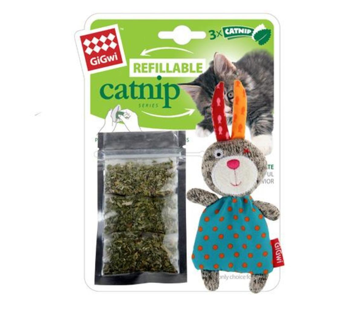 兔仔針織公仔貓玩具連貓草