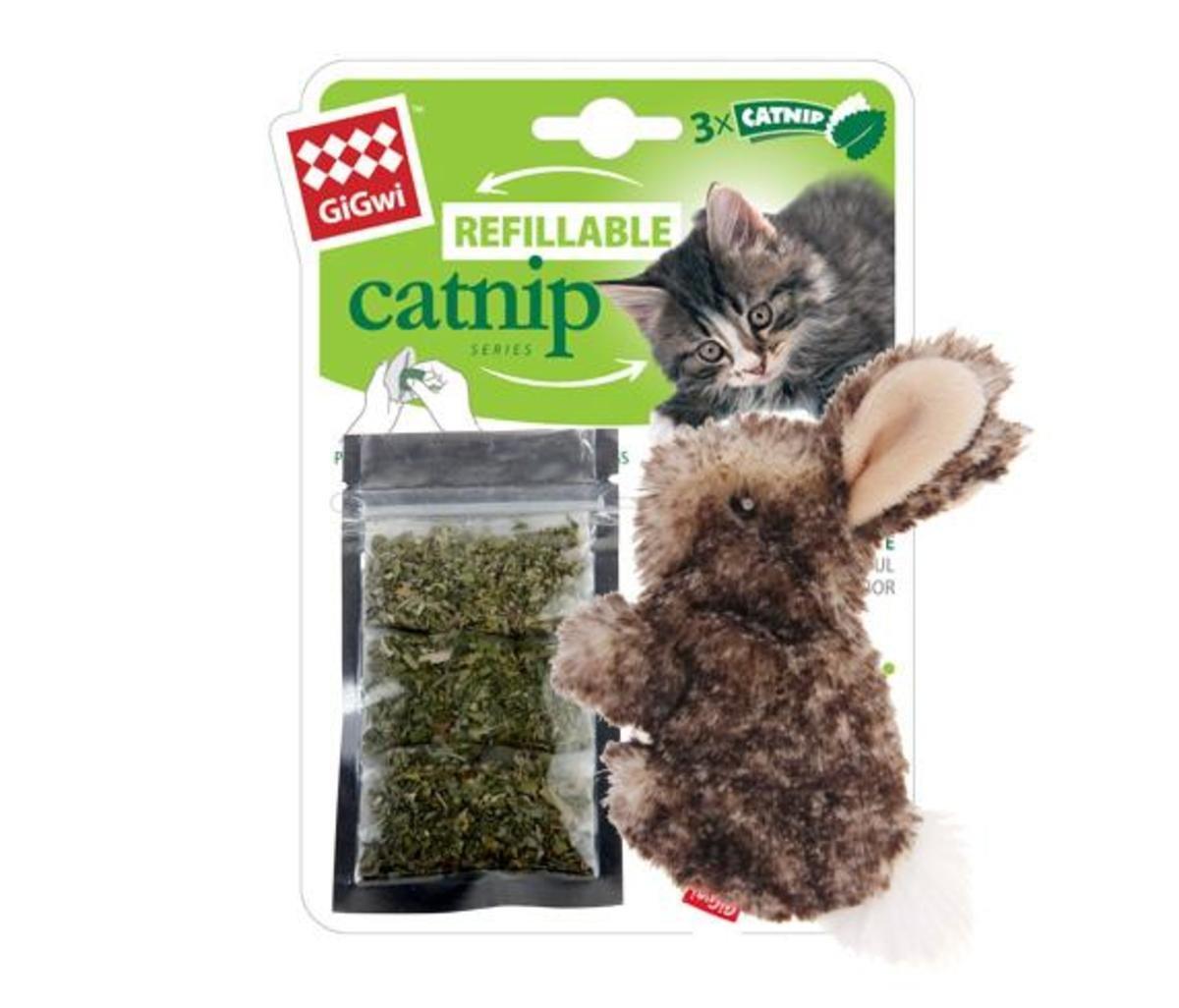 兔仔毛毛公仔貓玩具連貓草
