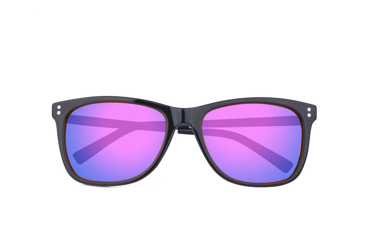 eGG黑框金屬鏡臂偏光紫色水銀片太陽眼鏡 (防UV400)