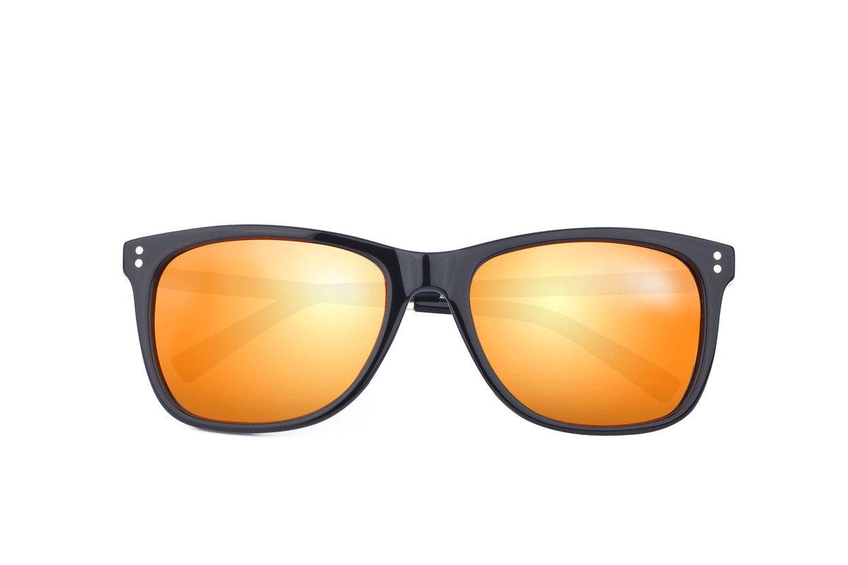 eGG黑框金屬鏡臂偏光橙色水銀片太陽眼鏡 (防UV400)