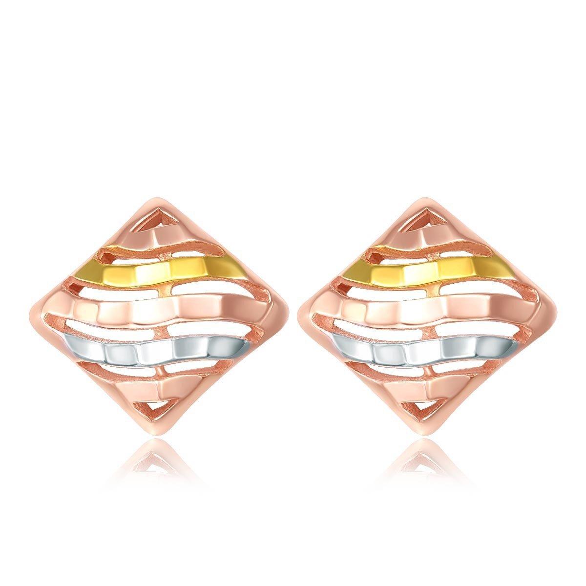 18K/750黃, 白, 玫瑰三色黃金耳環