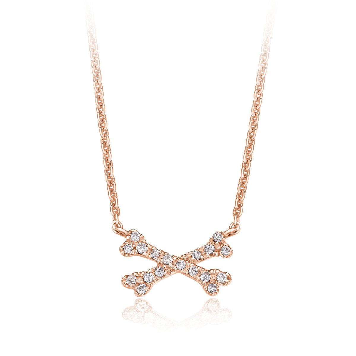 18K/750玫瑰色黃金鑲天然鑽石頸鍊